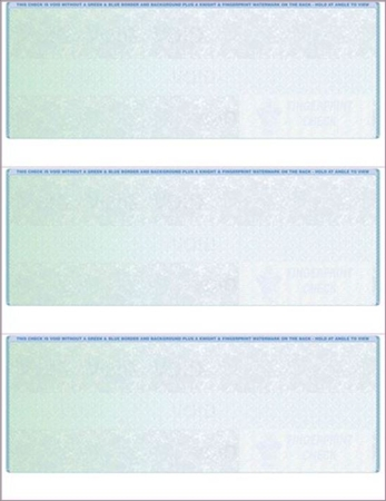3 Per Page Check Stock for accounting software, Green to Blue - DiscountTaxForms.com