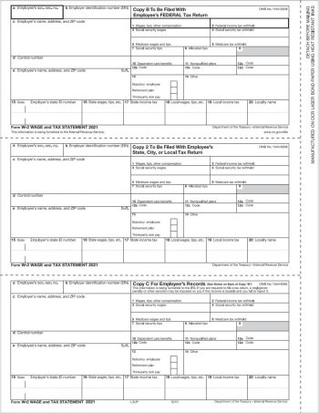 W2 3up Tax Forms for Employee Copies B, C, 2 - DiscountTaxForms.com