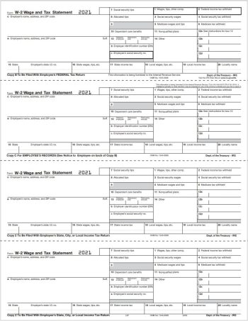 W2 Tax Form 4up V2A Horizontal Perforations, Employee W2 Copies B, C, 2, 2 Condensed on a Single Sheet - DiscountTaxForms.com