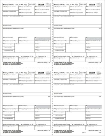 W2 Tax Form 4up Condensed for Employer Copy 1 & D in V1 Quadrant Format - DiscountTaxForms.com