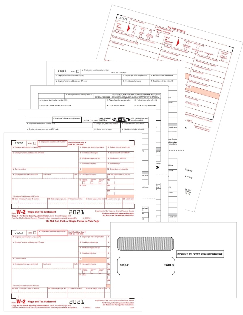 W2 Tax Form and Envelope Sets for 2021 with Employee and Employer Copies at Discount Prices - DiscountTaxForms.com