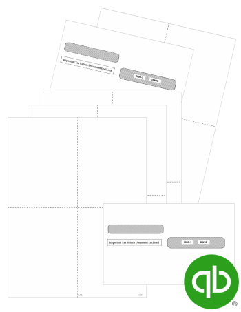QuickBooks Blank 4up W2 Forms and Envelopes, Quadrant Style V1 at Discount Prices - DiscountTaxForms.com