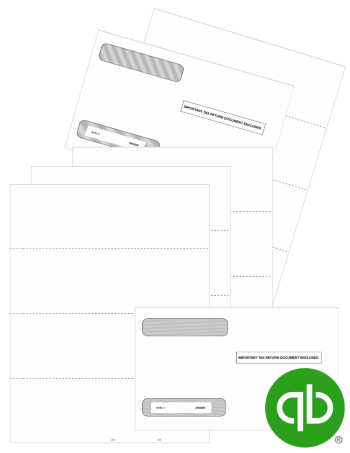 QuickBooks Blank 4up W2 Tax Forms and Envelopes Set, Guaranteed Compatible, Discount Prices, No Coupon Needed - DiscountTaxForms.com