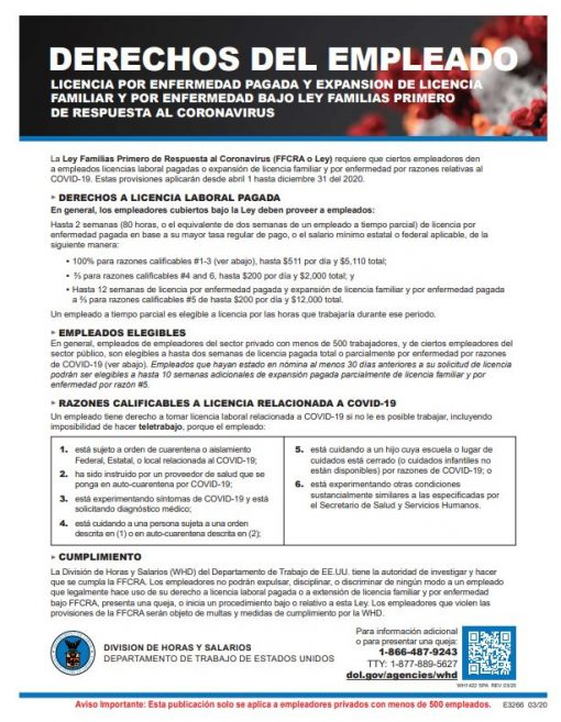 Employee Rights COVID19 Sign Spanish Version - DiscountTaxForms.com