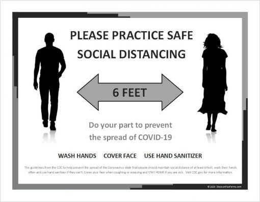 Social Distancing Sign Printable Download PDF Black & White - DiscountTaxForms.com