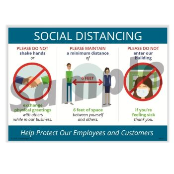 Social Distance Sign, No Hand Shakes, 6-Feet Apart, Mask Required N0106 - DiscountTaxForms.com