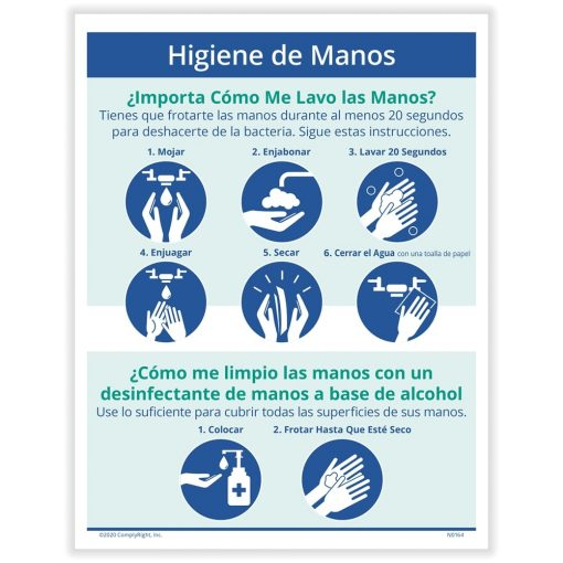 Hand Hygiene Sign Spanish for COVID N0137S - DiscountTaxForms.com