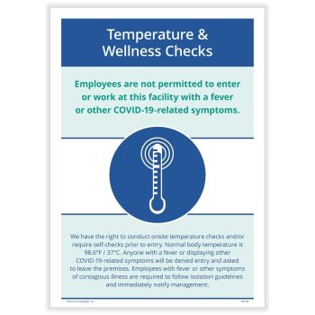 COVID Temperature Wellness Check Sign for COVID N0166 - DIscountTaxForms.com