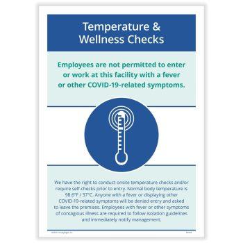 COVID Temperature Wellness Check Sign for COVID N0166 - DIscountTaxForms.com