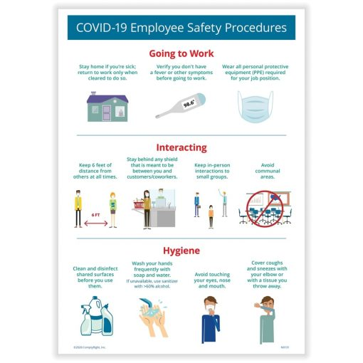 Employee Safety Procedures Sign for COVID19 N0170 - DiscountTaxForms.com