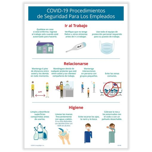Employee Safety Sign for COVID 19 Spanish N0170S - DiscountTaxForms.com