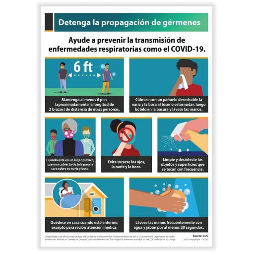 Stop Spread of Germs Sign for COVID19 Spanish N0224S - DiscountTaxForms.com