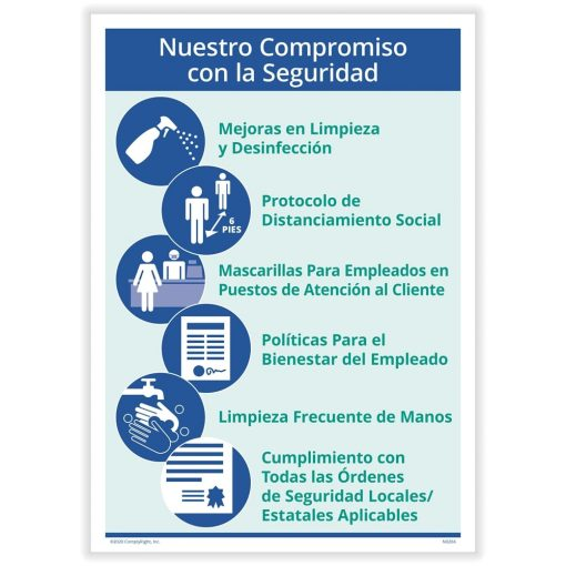Commitment to Safety Sign for COVID Coronavirus Spanish N0267S - DiscountTaxForms.com