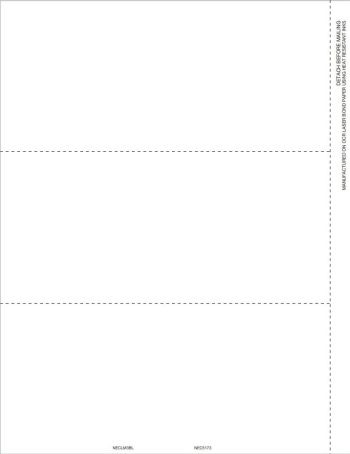 Blank Perforated 1099-NEC Form Paper 3up with Recipient Instructions on Back - DiscountTaxForms.com