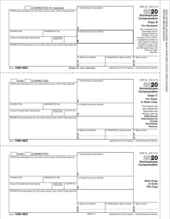 1099-NEC Tax Form 3up Copy B, C, 2 for a Single Recipient - DiscountTaxForms.com