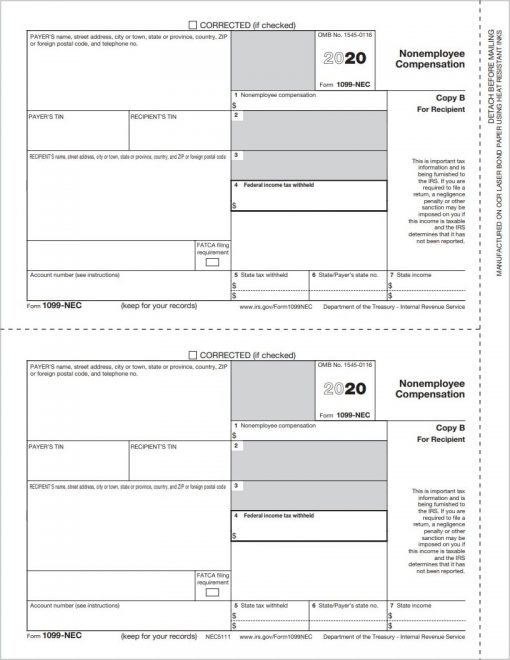 1099NEC Tax Form Copy B for Recipient Filing - DiscountTaxForms.com