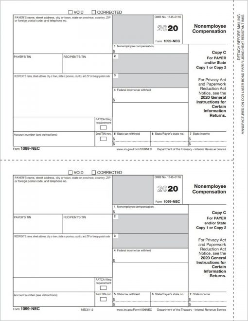 1099NEC Tax Forms Copy C-2 for State or Payer File Copy - DiscountTaxForms.com