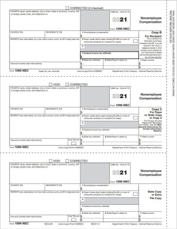 1099NEC Tax Forms Recipient and Payer Copy B-C-2 3up for 2021 - DiscountTaxForms.com