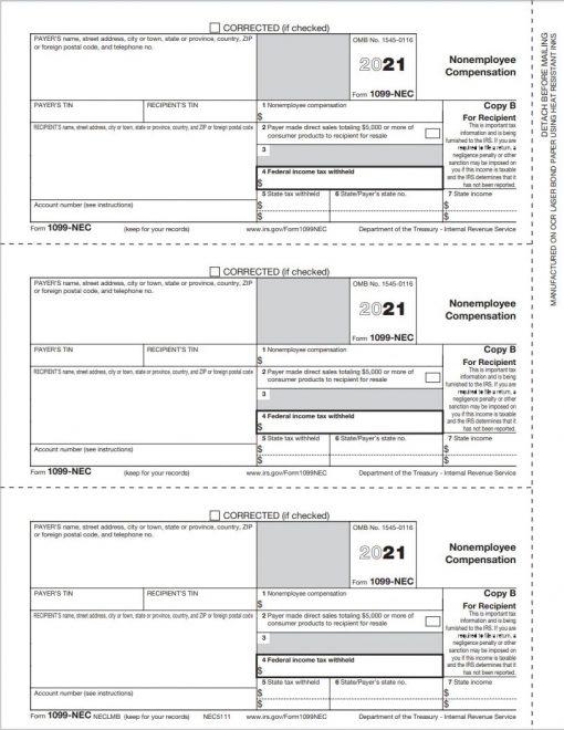 1099NEC Tax Form Copy B for Recipients - Report Non-Employee Compensation for Freelancers, Contractors, Attorneys - DiscountTaxFormss.com