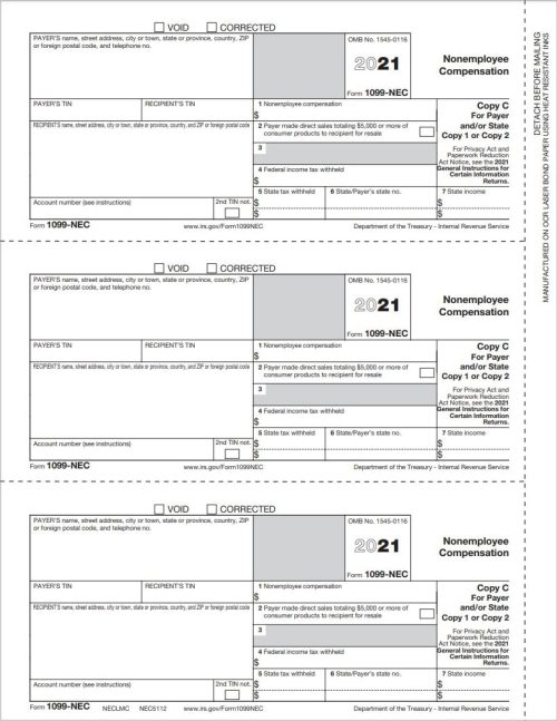 1099NEC Tax Forms Copy C-2 for Payer State or File - DiscountTaxForms.com