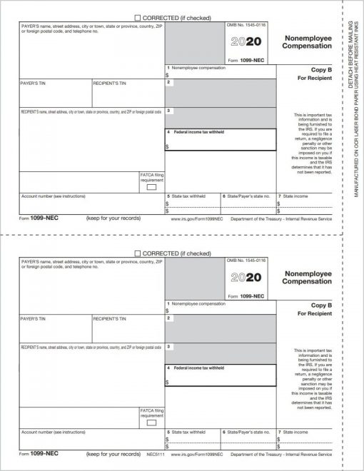 QuickBooks Tax Form 1099NEC Copy B for Recipient - Replaces 1099MISC for Nonemployee Compensation Reporting in 2020 - DiscountTaxForms.com