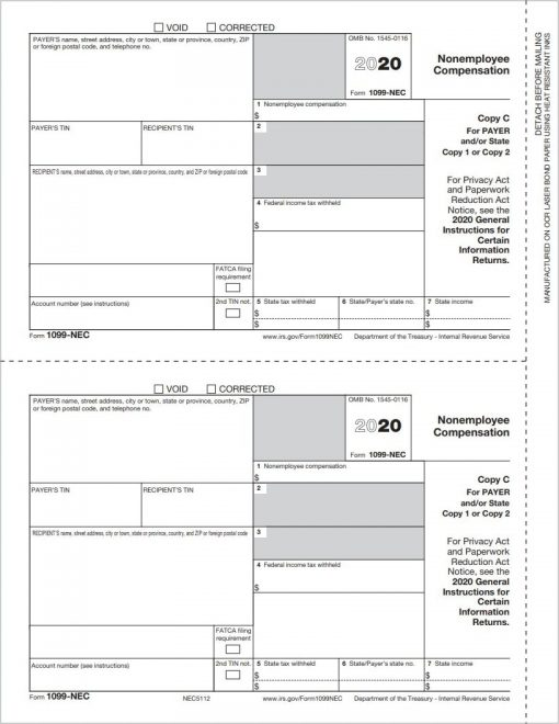 QuickBooks Tax Form 1099NEC Copy C/2 for State and File - Replaces 1099MISC for box 7 nonemployee compensation reporting in 2020 - DiscountTaxForms.com
