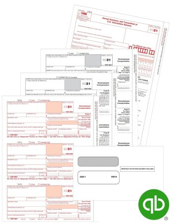 QuickBooks Compatible 1099-NEC Tax Forms Kit with Envelopes, Guaranteed Compatible with Discount Prices - DiscountTaxForms.com