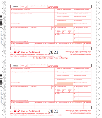W2 Continuous Carbonless Forms, 1-Wide Standard Format - DiscountTaxForms.com