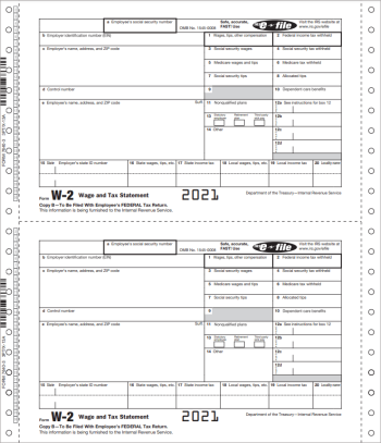 W2 Continuous Carbonless Forms for E-Filers - DiscountTaxForms.com