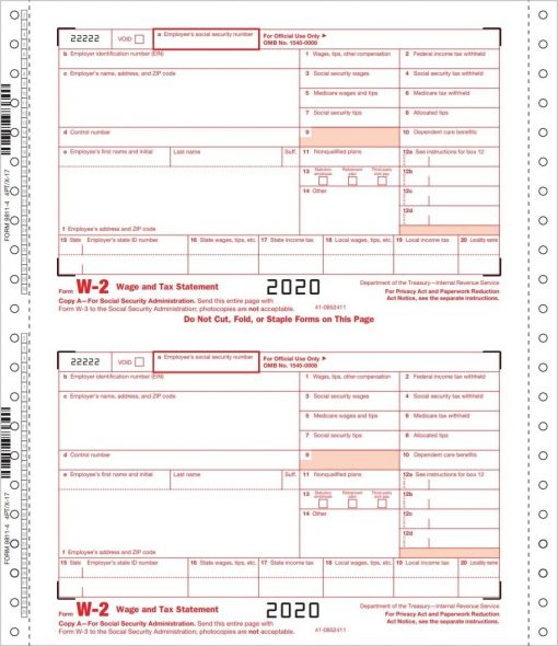 W2 Form, Continuous Carbonless 1-Wide for Pin-Fed Printers and Typewriters - DiscountTaxForms.com