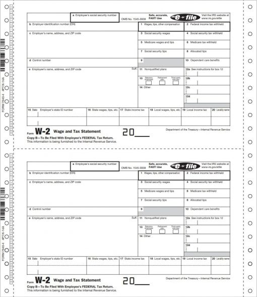 W2 Carbonless Continuous Forms for Employees - DiscountTaxForms.com