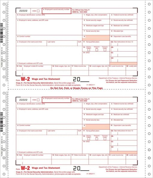 W2 Carbonless Continuous forms for employers - DiscountTaxForms.com