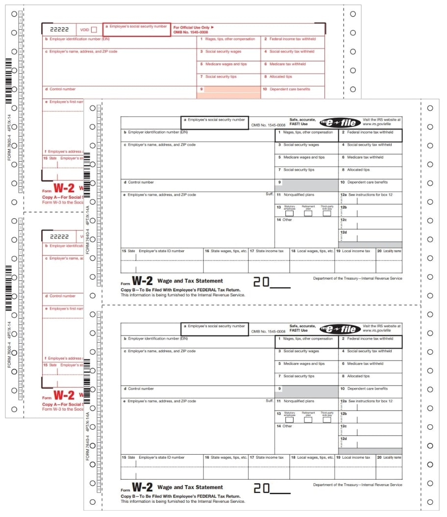 W2 Carbonless Continuous Forms, Twin sets for employees and employers - DiscountTaxForms.com