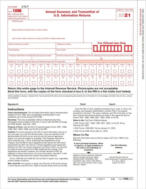 1096 Forms for Summary and Transmittal of 1099 forms to the IRS - DiscountTaxForms.com