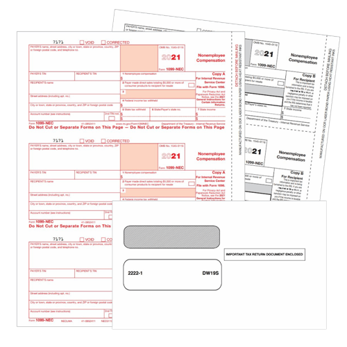 1099NEC Tax Forms and Envelopes for 2021 - DiscountTaxForms.com