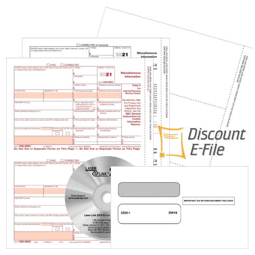 1099MISC Fliing for 2021, Forms, Envelopes, Software, E-file - DiscountTaxForms.com