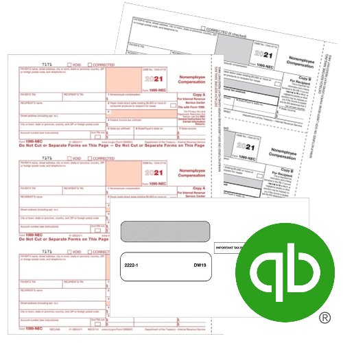QuickBooks 1099 Tax Forms and Envelopes for 2021, 100% Compatible at Discount Prices - DiscountTaxForms.com