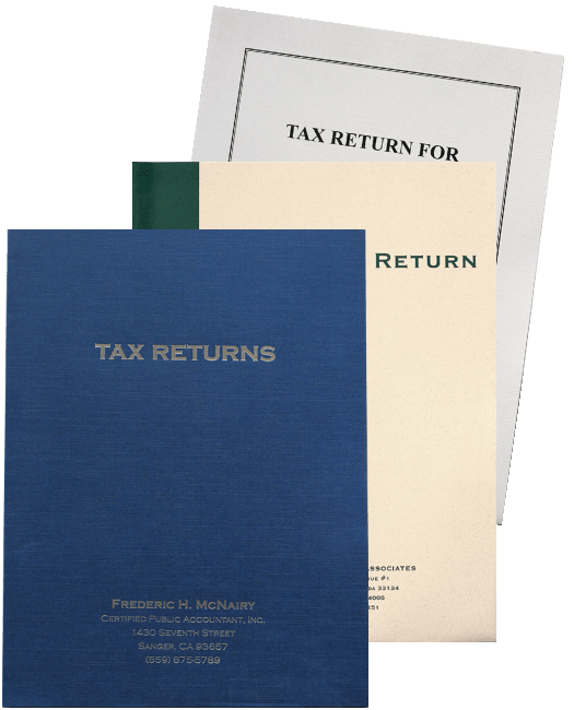 Custom Tax Folders with Ink Imprinting or Foil Stamping, Standard or Expanding Pockets - DiscountTaxForms.com