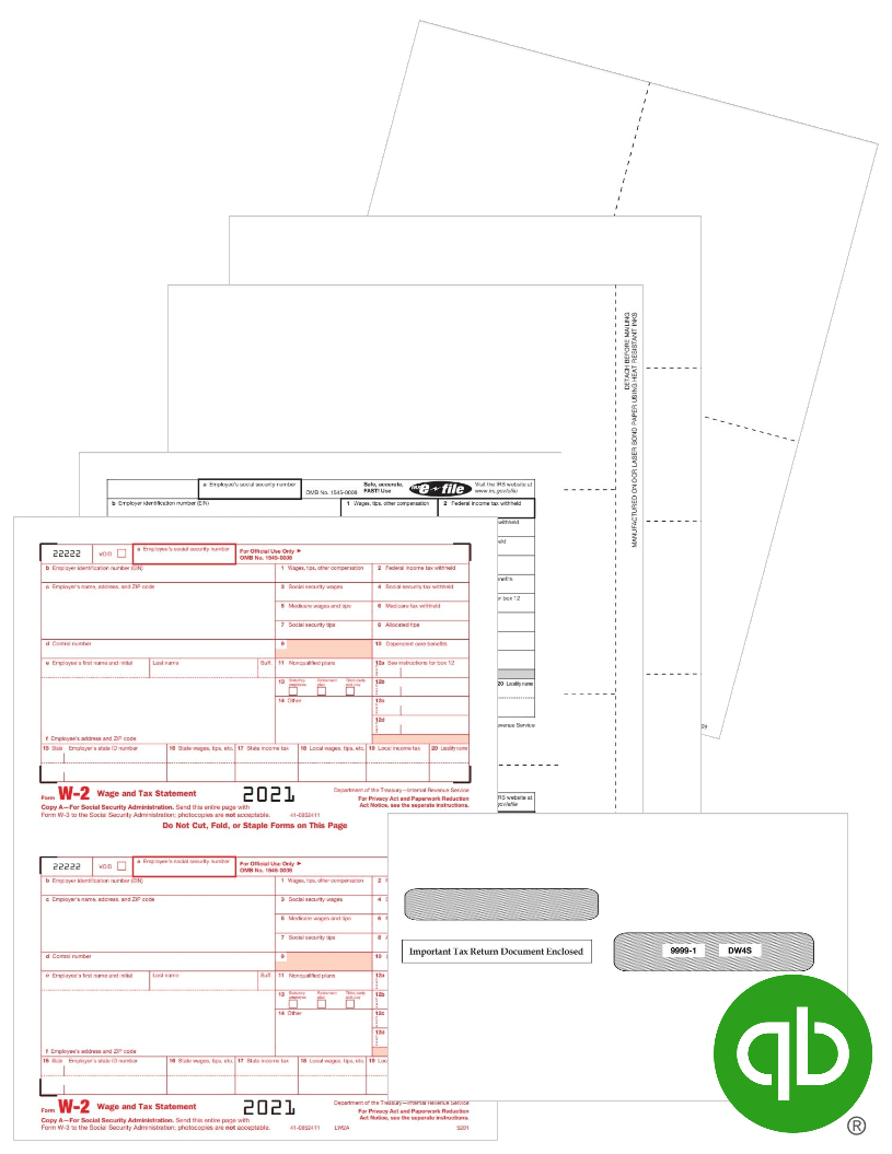 QuickBooks W2 Forms and Envelopes for 2021 at Discount Prices - DiscountTaxForms.com