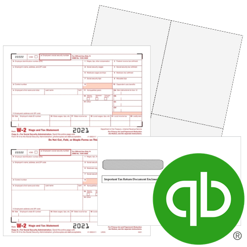 QuickBooks W2 Forms and Envelopes for 2021, W2 Forms and Blank Perforated Pape at Discount Prices, No Coupon Needed - DiscountTaxForms.com