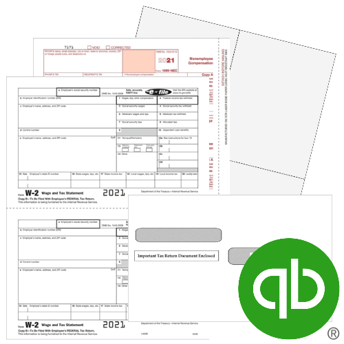 QuickBooks 1099 W2 Tax Forms and Envelopes for 2021 - DiscountTaxForms.com